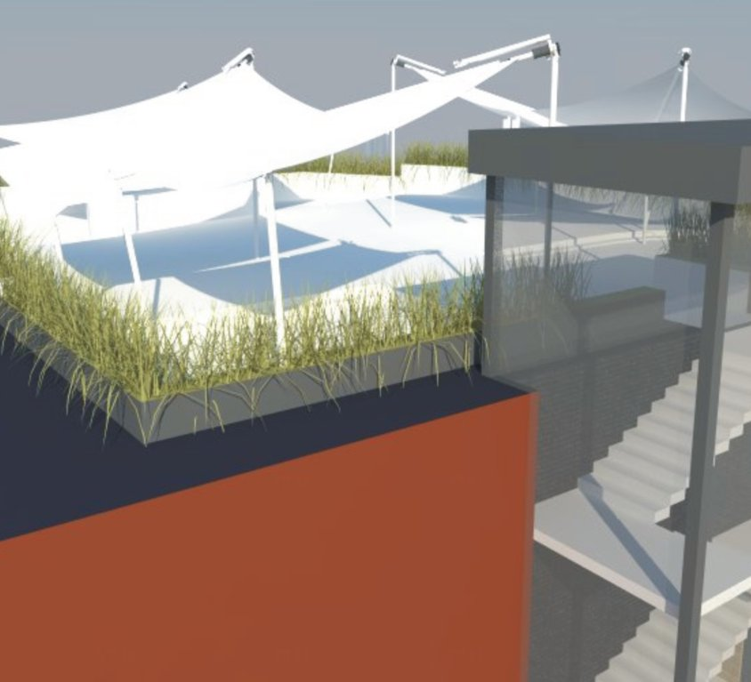 Restorano terasa ant stogo projektas